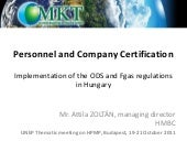 Personnel and Company Certification Hungary