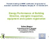 Energy Performance of Building Directive, energetic inspection, equipment and system registration