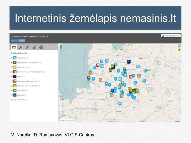 V. Nareiko. Internetinis žemėlapis nemasinis.lt. GIS - paprasta ir atvira 2015.