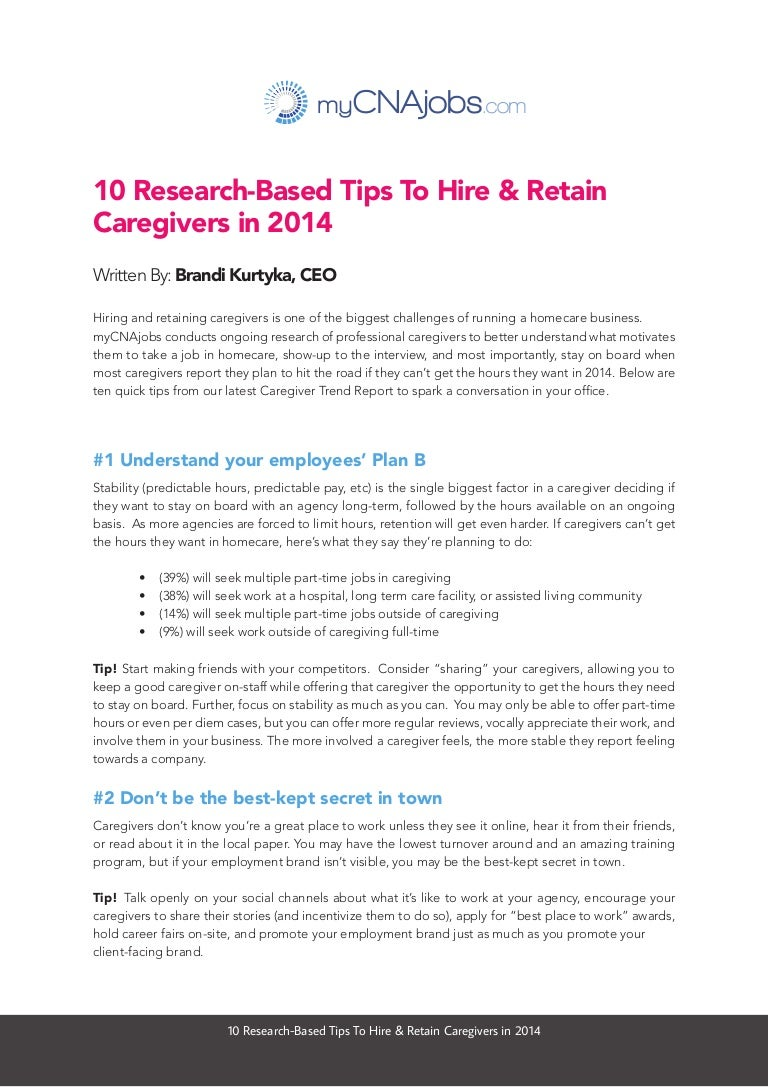 10 tips to hire and retain caregivers