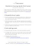 Checklist for Ensuring Quality Web Content