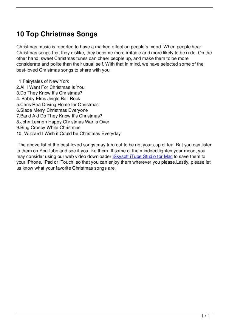 10 Top Christmas Songs