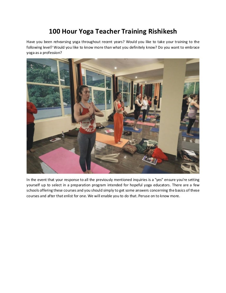 100 Hour Yoga Teacher Training Rishikesh