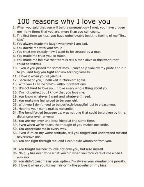 Why Girlfriend Reasons 50 My I Love