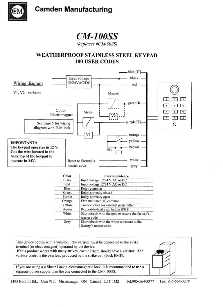 Camden 100ss Instruction Manual 12 Volt Relay Wiring Code
