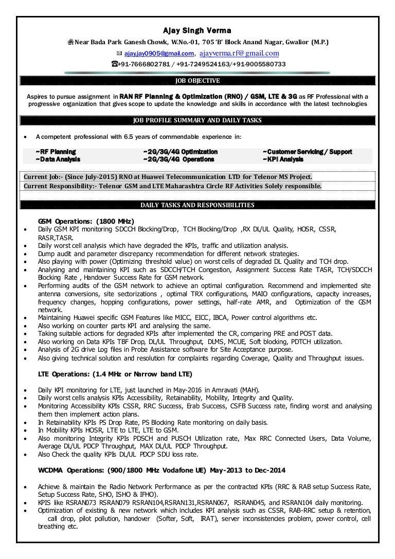 rf engineer resume sample