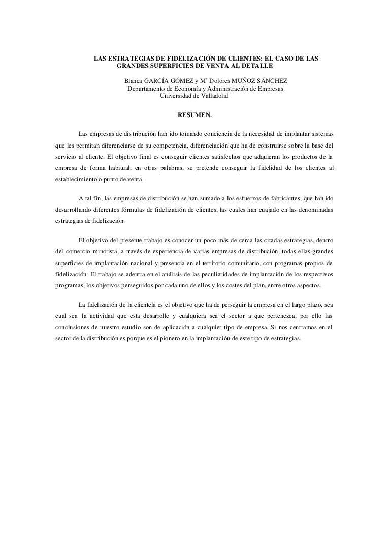 LAS ESTRATEGIAS DE FIDELIZACIÓN DE CLIENTES: EL CASO DE LAS GRANDES S…