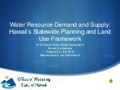 Water Resource Demand and Supply: Hawaii's Statewide Planning and Land Use Framework