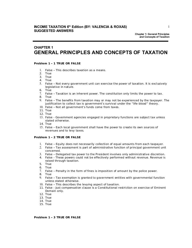 Income Taxation - Answer key (6th Edition by Valencia ...