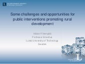 Håkan Ylinenpää- Some challenges and opportunities for public interventions promoting rural development