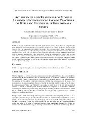 ACCEPTANCE AND READINESS OF MOBILE LEARNING INTEGRATION AMONG TEACHERS OF DYSLEXIC STUDENTS: A PRELIMINARY STUDY