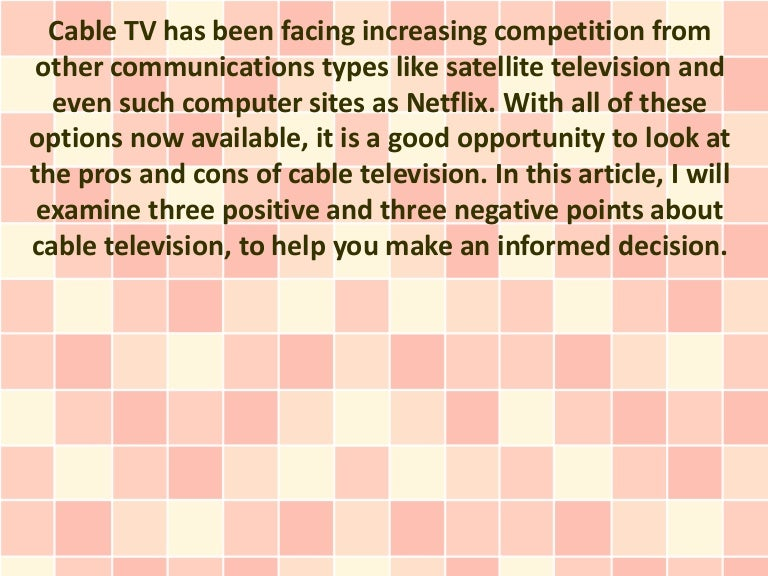 advantages and disadvantages of cable tv essay