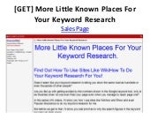 [GET] More Little Known Places For Your Keyword Research
