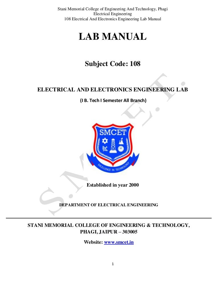 Electrical and electronics Lab Manual