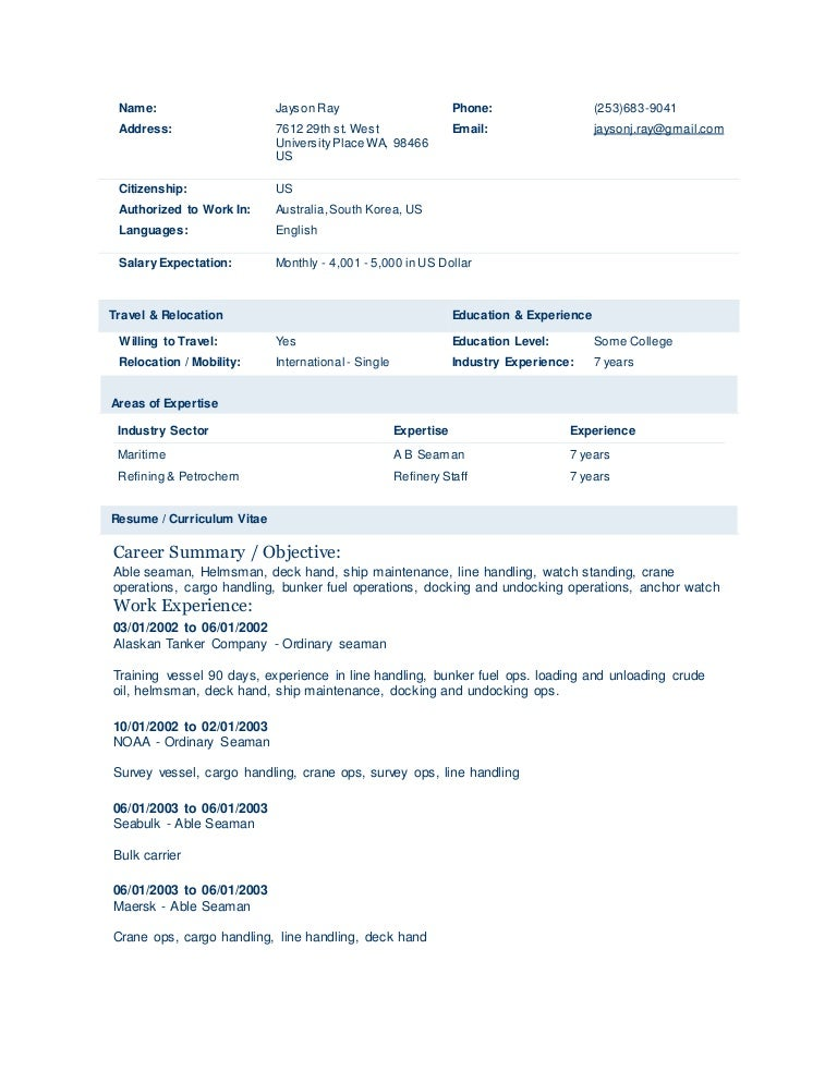 merchant mariner resume