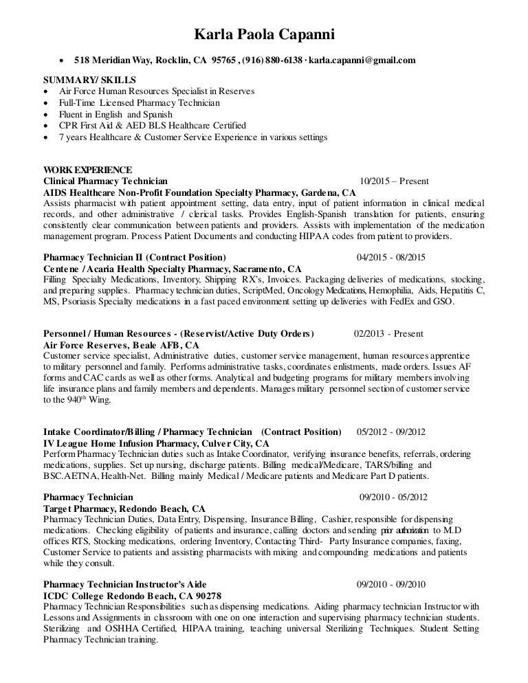 Karla Capanni Resume – Technician Duties