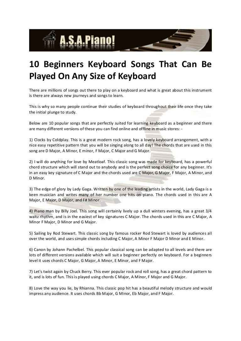10 beginners keyboard songs that can be played on any size of keyboard hexwebz Images