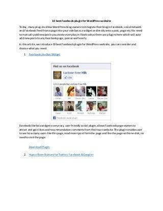 10 Best facebook plugin for wordpress website
