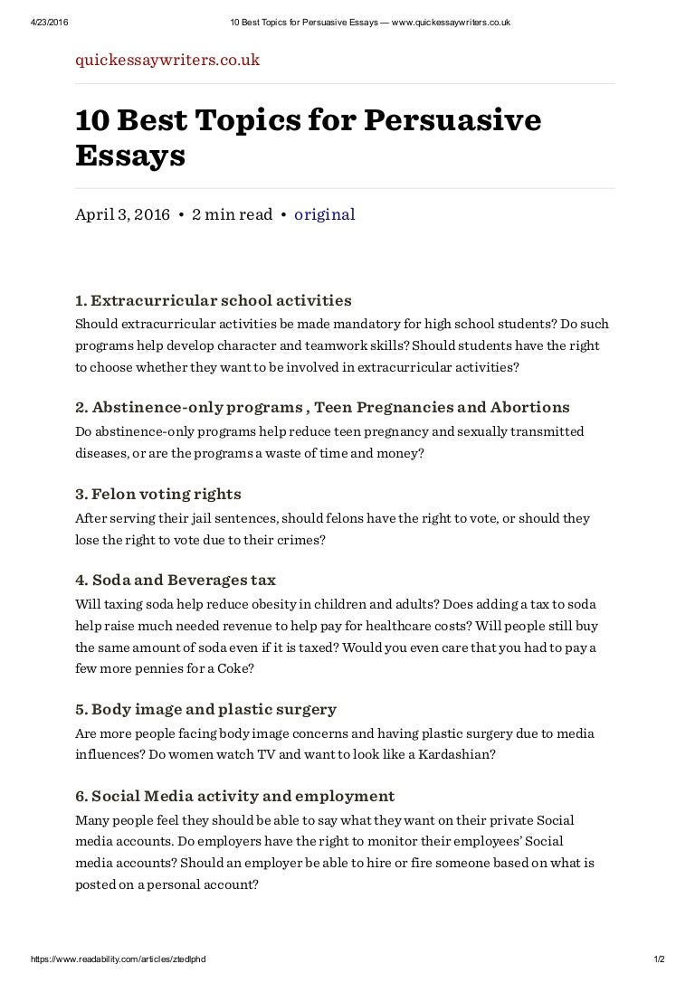 best topics for persuasive essays quickessaywriters co uk