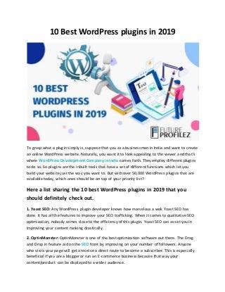 10 best word press plugins in 2019