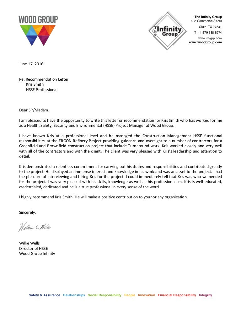 recommendation letter from client to contractor recommendation letter k smith recommendation letter from client