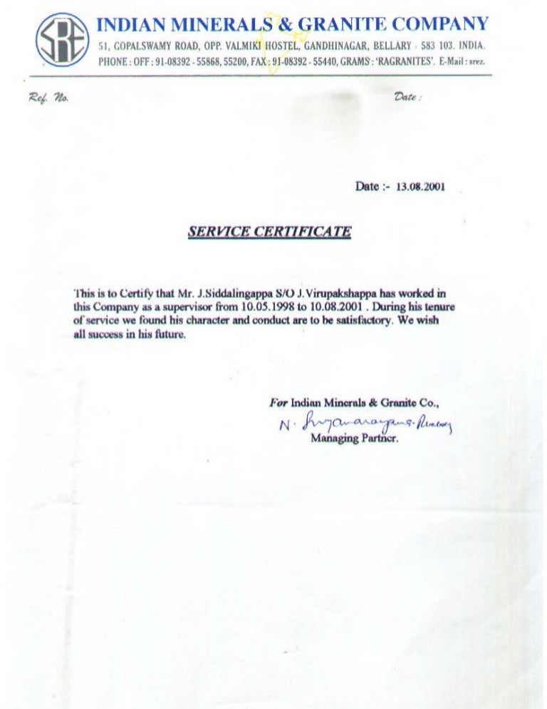 10 Indian Minerals Amp Granite Company Experience Certificate