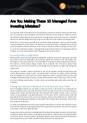 Are You Making These 10 Managed Forex Investing Mistakes