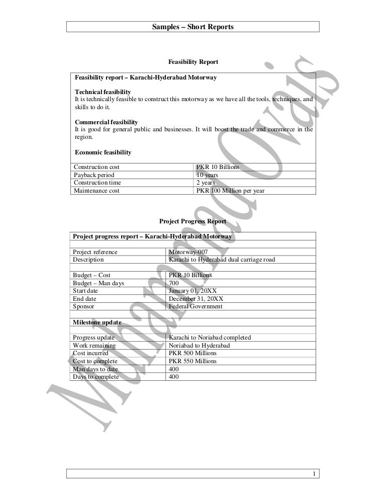 Practical Writing Samples  Short Reports