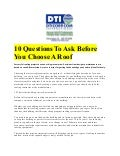 10 questions to ask before you choose a roof