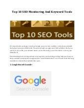 Top 10 SEO Monitoring And Keyword Tools