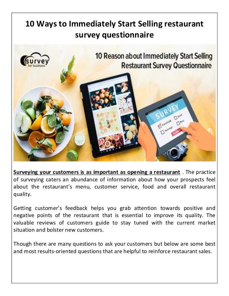 10 Ways to Immediately Start Selling restaurant survey
