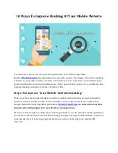 10 ways to improve ranking of your mobile website
