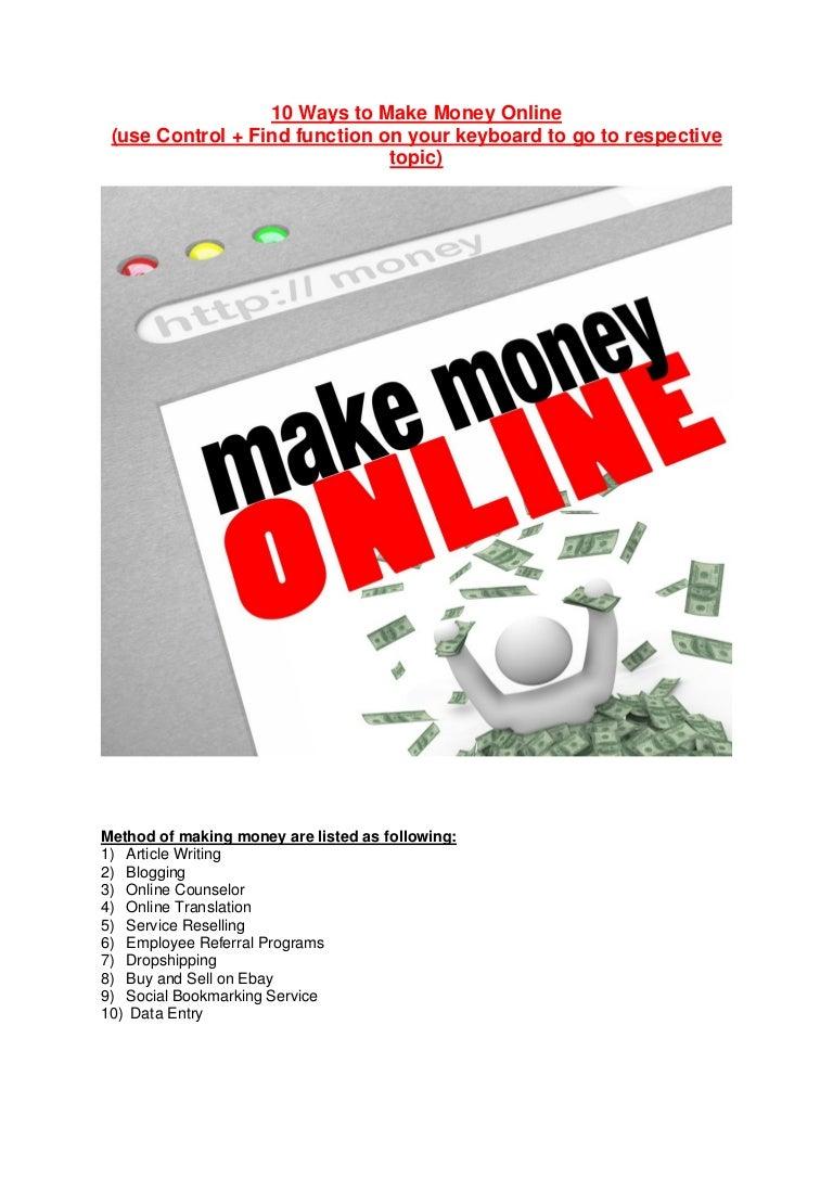 10 Ways To Make Money Ebook