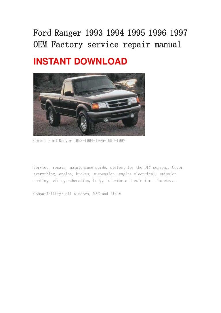 ford ranger 1993 1994 1995 1996 1997 manual rh slideshare net 1996 ford ranger owners manual Ford Ranger Fuse Panel