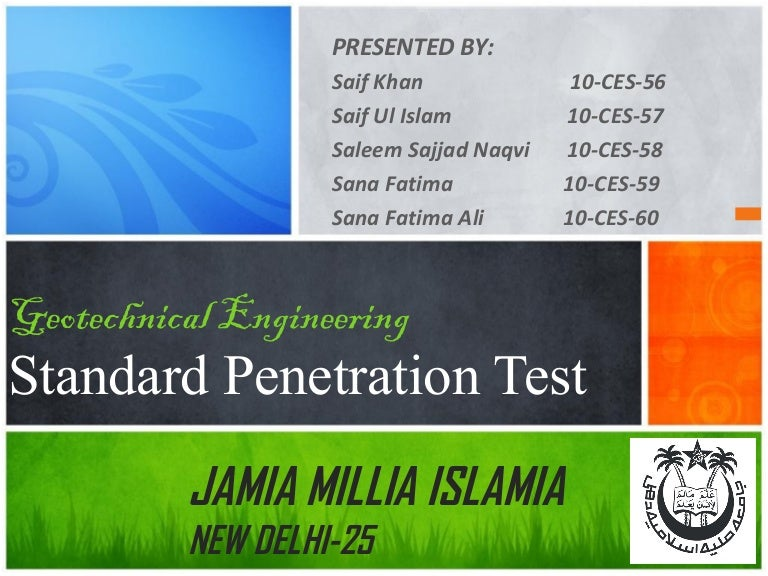 Did not geotechnical penetration standard test
