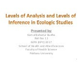Levels of analysis and levels of inference in ecological study