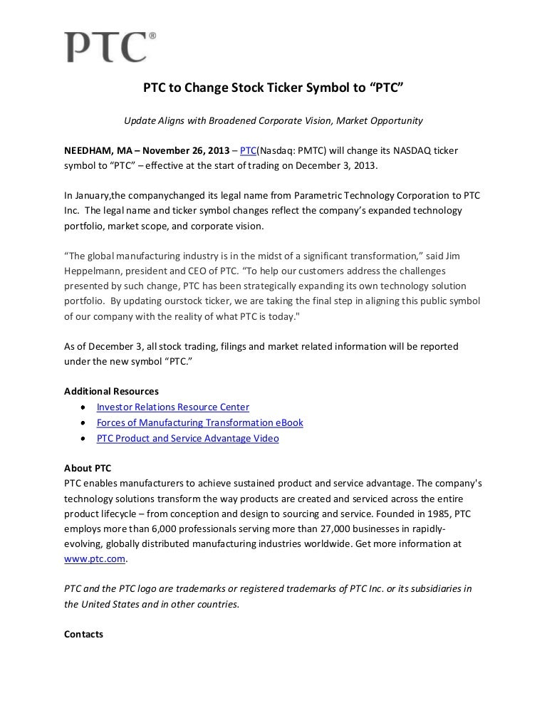 Ptc To Change Stock Ticker Symbol To Ptc