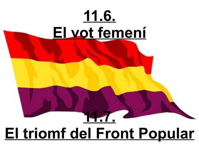 11 6  El Vot Femení 11 7  El Triomf Del Front Popular