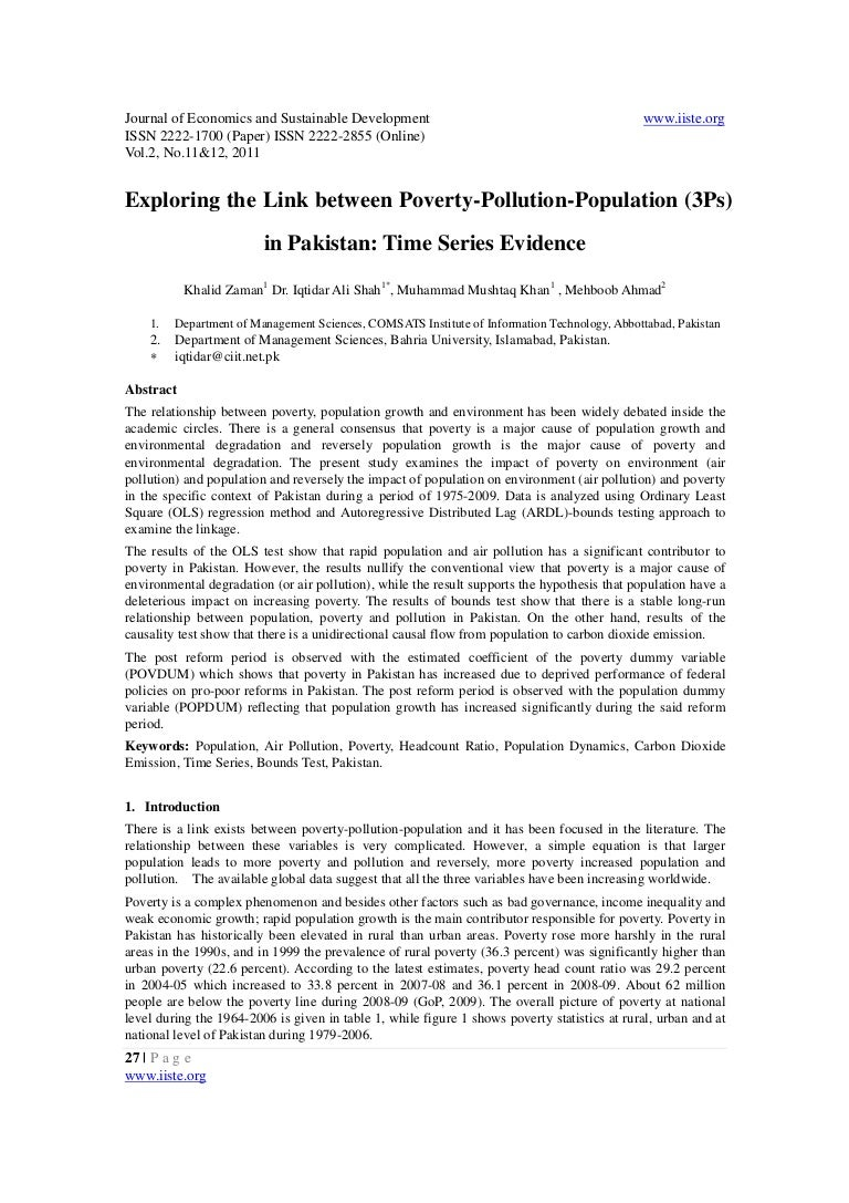 exploring the link between poverty pollution population i