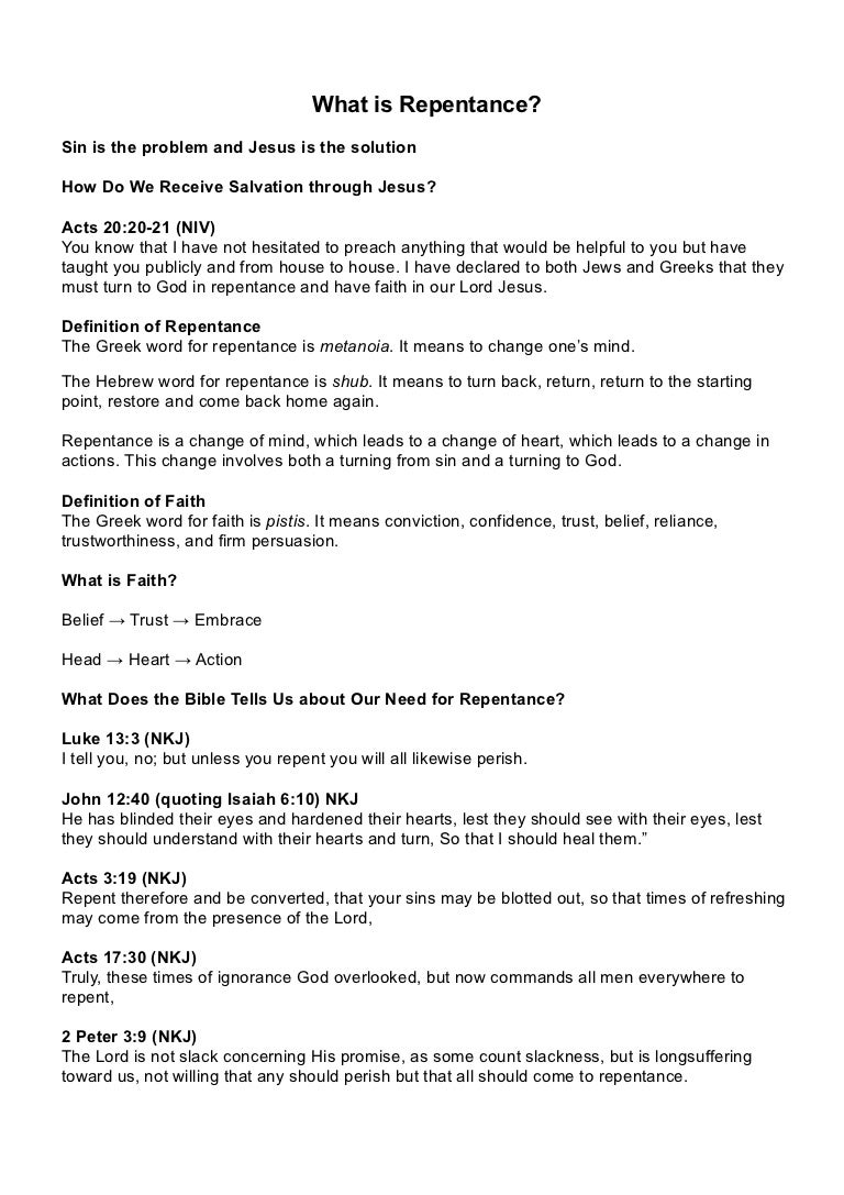 11. what is repentence? notes