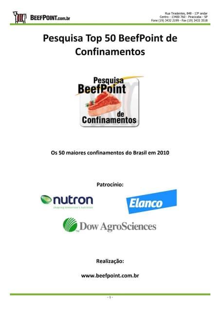 Relatório Top 50 Beef Point de Confinamentos 2010-2011