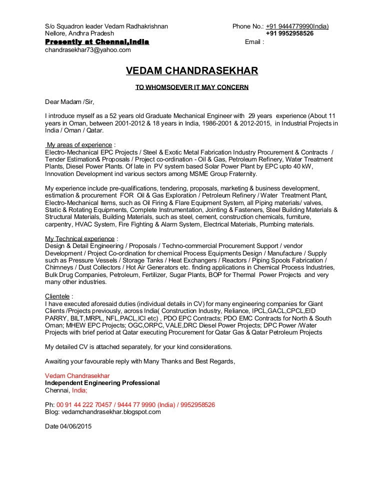 Cover Letter- Vedam Chandrasekhar