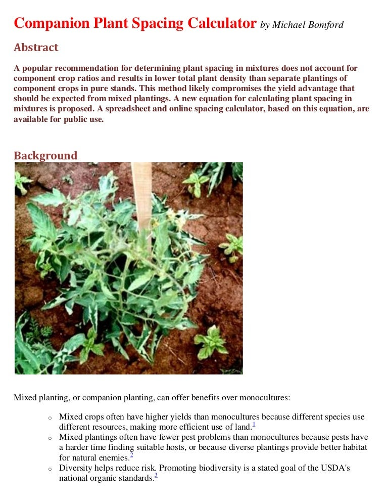 Companion Planting Spacing Calculator Spreadsheet Kentucky State Un