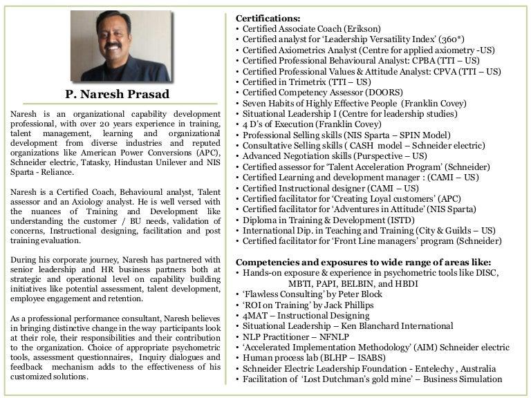 Facilitator Profile - Naresh