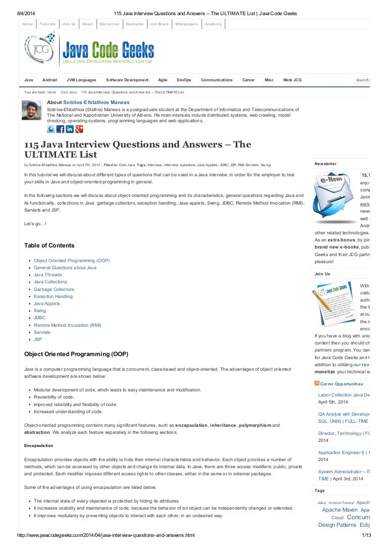 java interview questions and answers the ultimate list java c