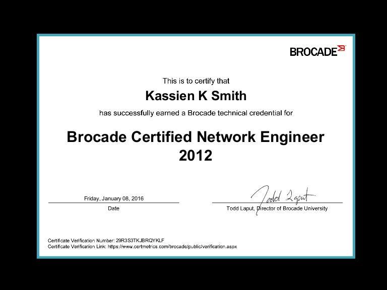 Brocade Certified Network Engineer 2012 Certificate
