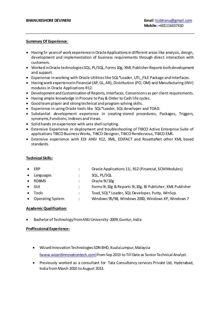 bhanu resume oracle apps pl sql developer