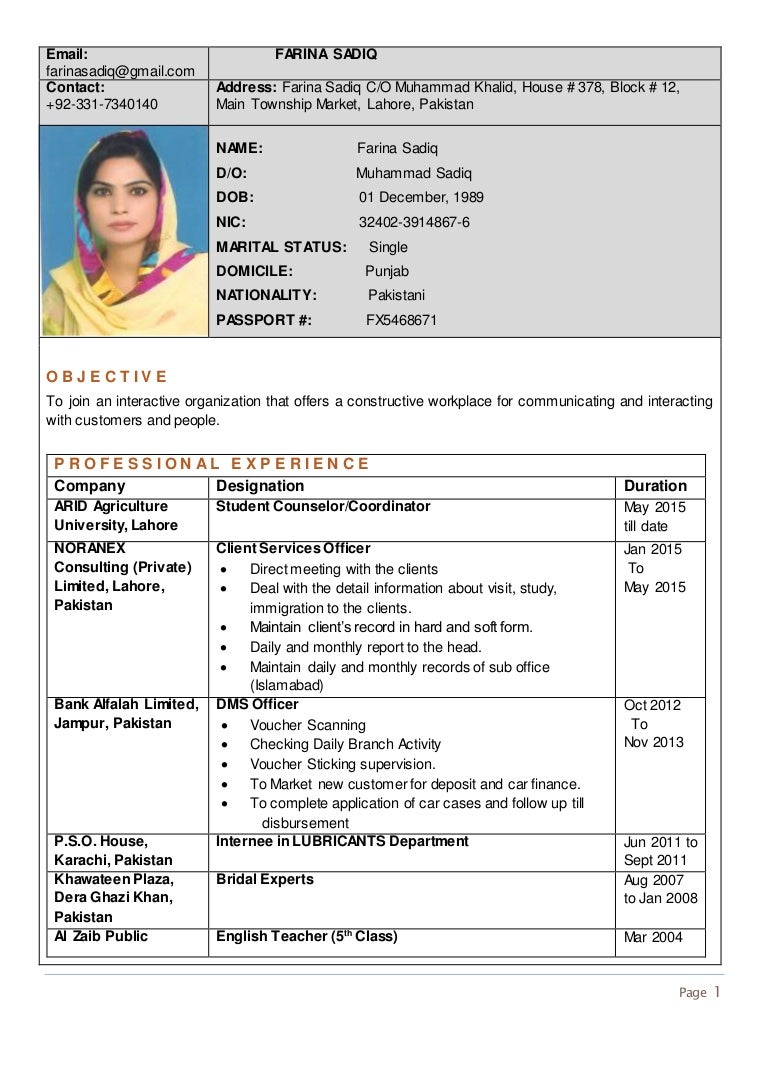 English teacher cv template doc roho4senses rozee cv 10274262 1609554 farina sadiq yelopaper Images