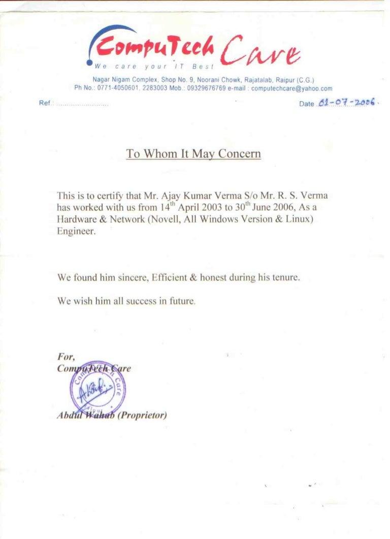 SlideShare  Experience Certificate Format Letter