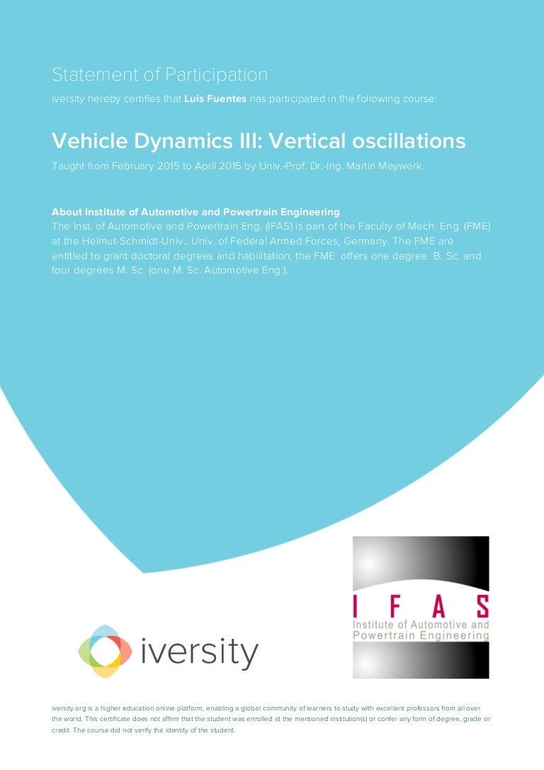 Vehicle dynamics iii vertical oscillations certificate xflitez Images